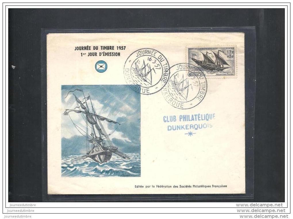 Enveloppe Fédérale  Journée Du Timbre 1957  Dunkerque - FDC