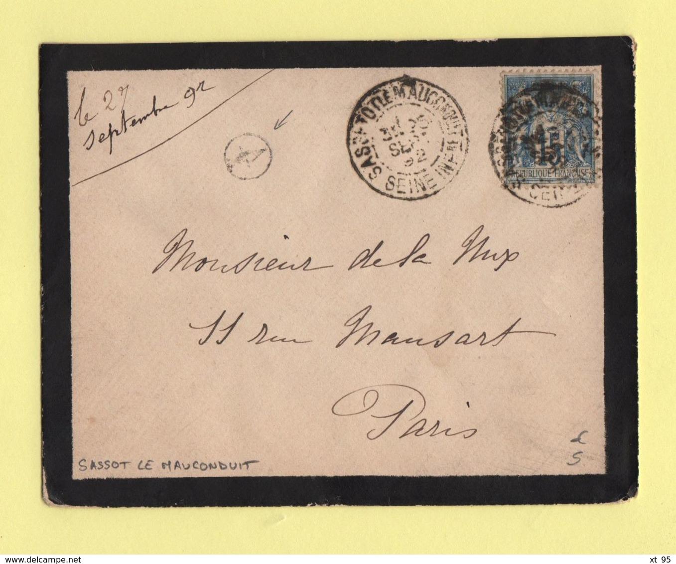 Sassot Le Mauconduit - Seine Inferieure - Boite Rurale Supplementaire A2 - 1892 - Sans Correspondance - Marcophilie (Lettres)