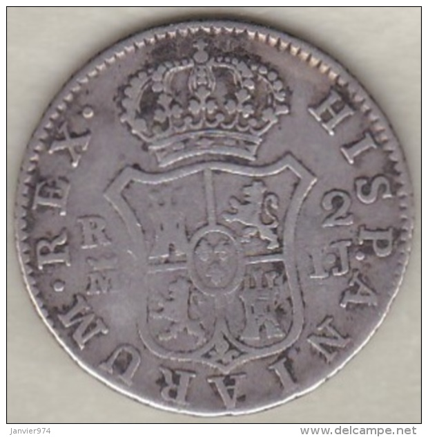 Espagne , 2 Reales  1813 IJ Madrid .Fernando VII . Argent . KM# 474.3 - [ 1] …-1931 : Royaume
