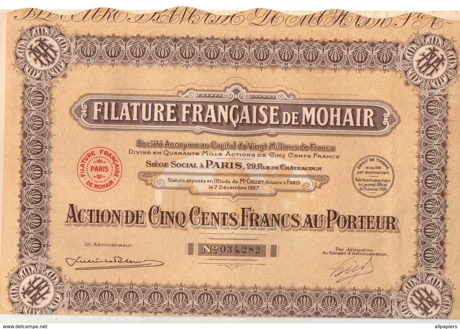 Action De 500 Francs Au Porteur N°034282 Pétrole Filature Française De Mohair De 1927 - Other