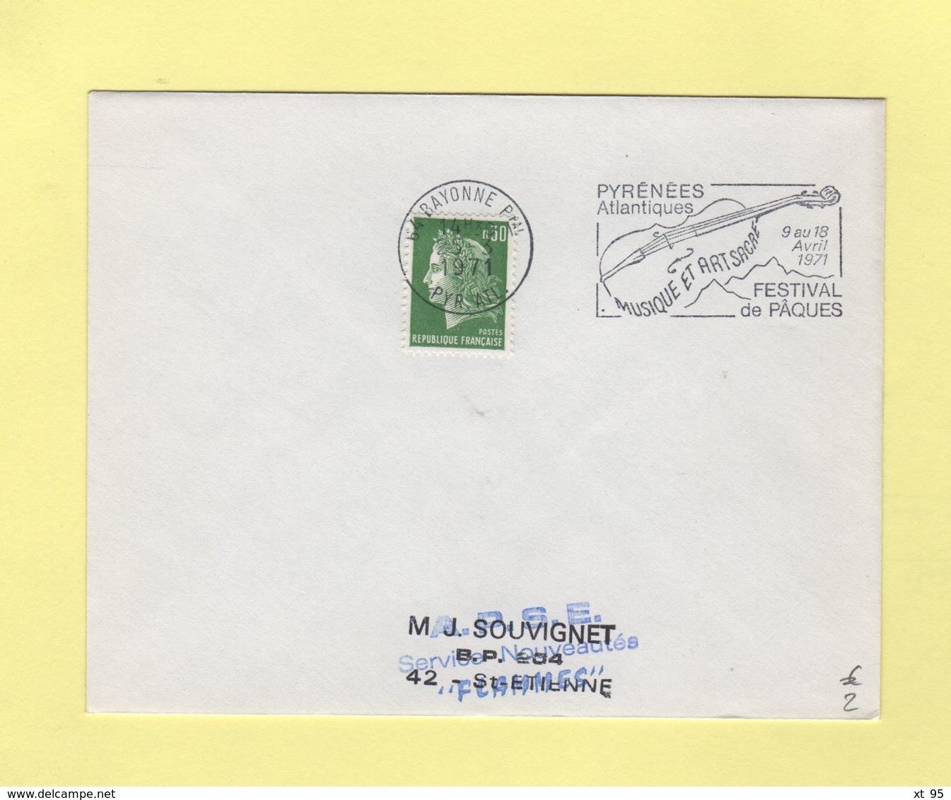 Bayonne - Musique Et Art Sacre - Festival De Paques - 1971 - Postmark Collection (Covers)