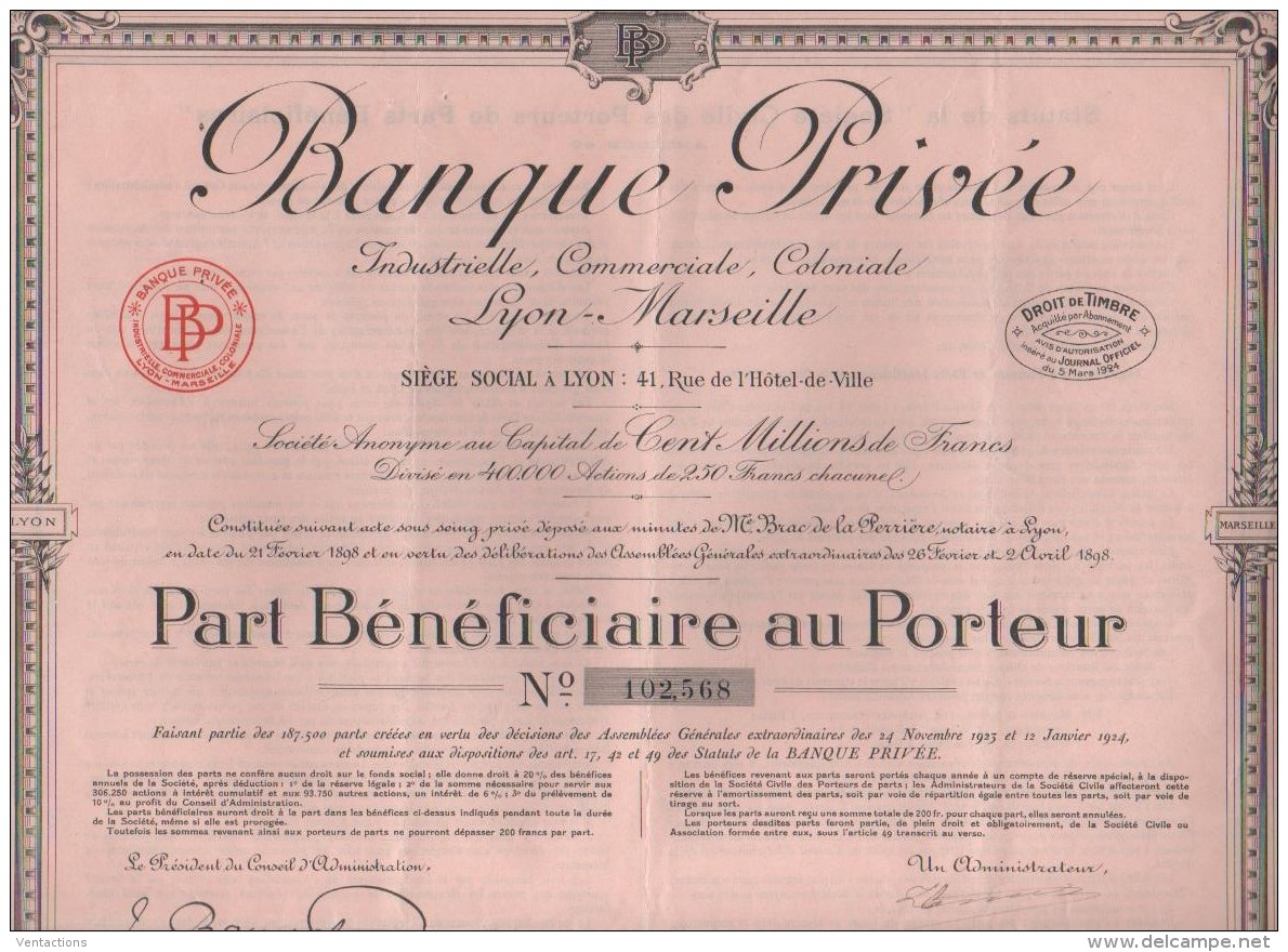 13-BANQUE PRIVEE LYON-MARSEILLE. Part Bénéficiaire - Shareholdings