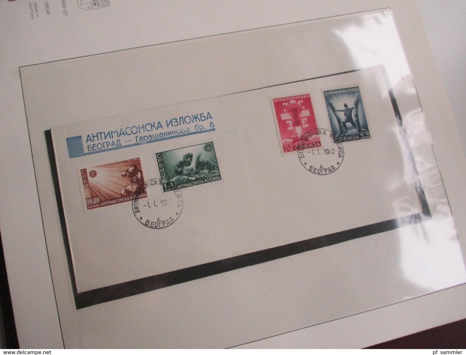 Besetzung 2.WK Kanal Inseln / Serbien / Montenegro / Elsass / Lothringen / Luxemburg Sammlung Im VD Album. Mit Belegen! - Timbres