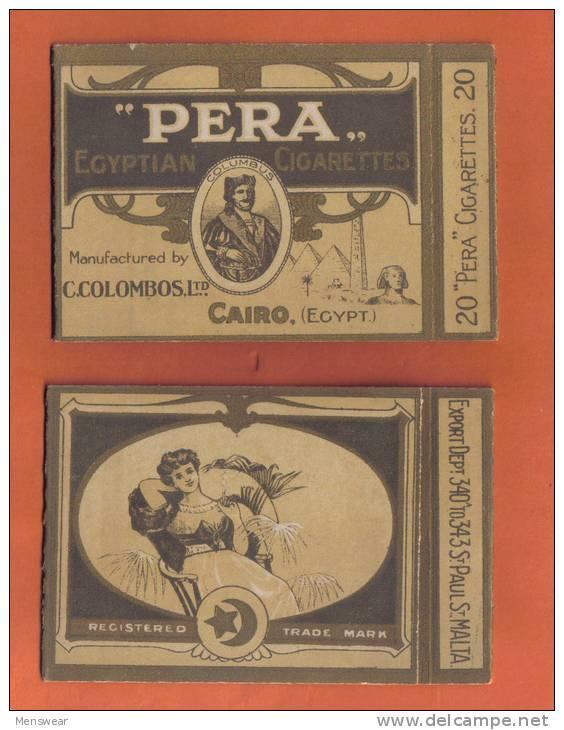 PERA C.COLOMBOS LTD.CAIRO MALTA  PACKET OF 20 CIGARETTE - 1910 VERY RARE - - Empty Cigarettes Boxes