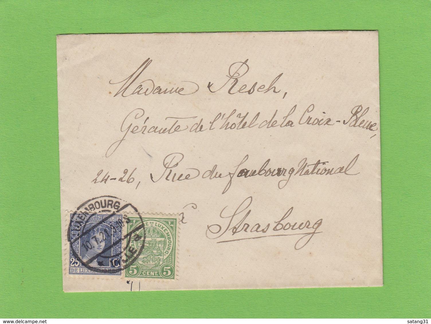 LETTRE POUR STRASBOURG. - 1914-24 Marie-Adélaïde