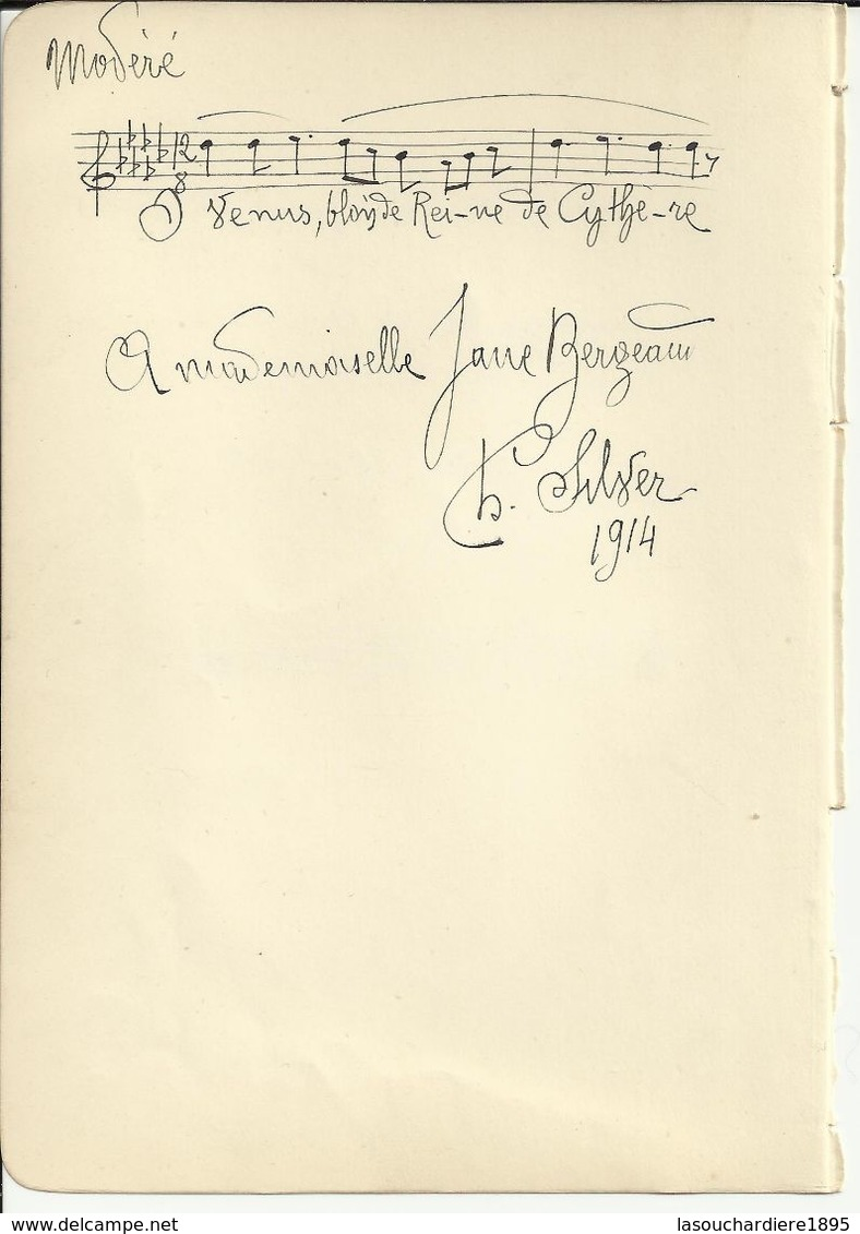 SILVER Charles (1868-1949) Manuscrit 1 Portée Musicale+ Textes,signés.1914. Recto.+Jules MOUQUET (1867-1946) Idem.verso. - Autographs