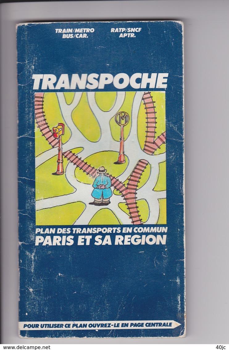 Plan Des Transports En Commun Paris Et Sa Region .Train.Metro.Bus.Car.Ratp.Sncf.Aptr.Octobre 1976. - Bus & Autocars