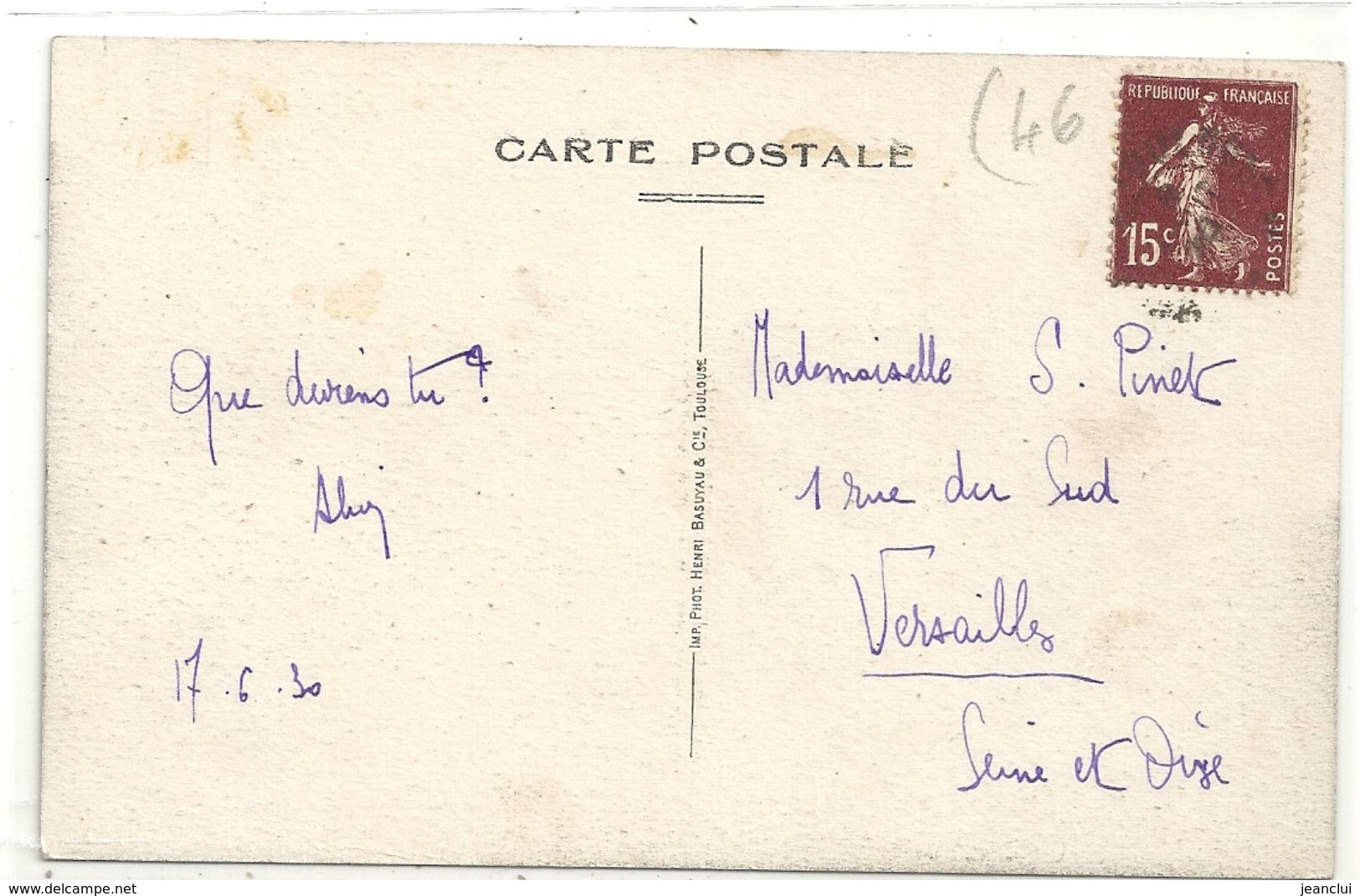 ROC-AMADOUR . AFFR AU VERSO LE 17-6-1930  . 2 SCANES - Rocamadour