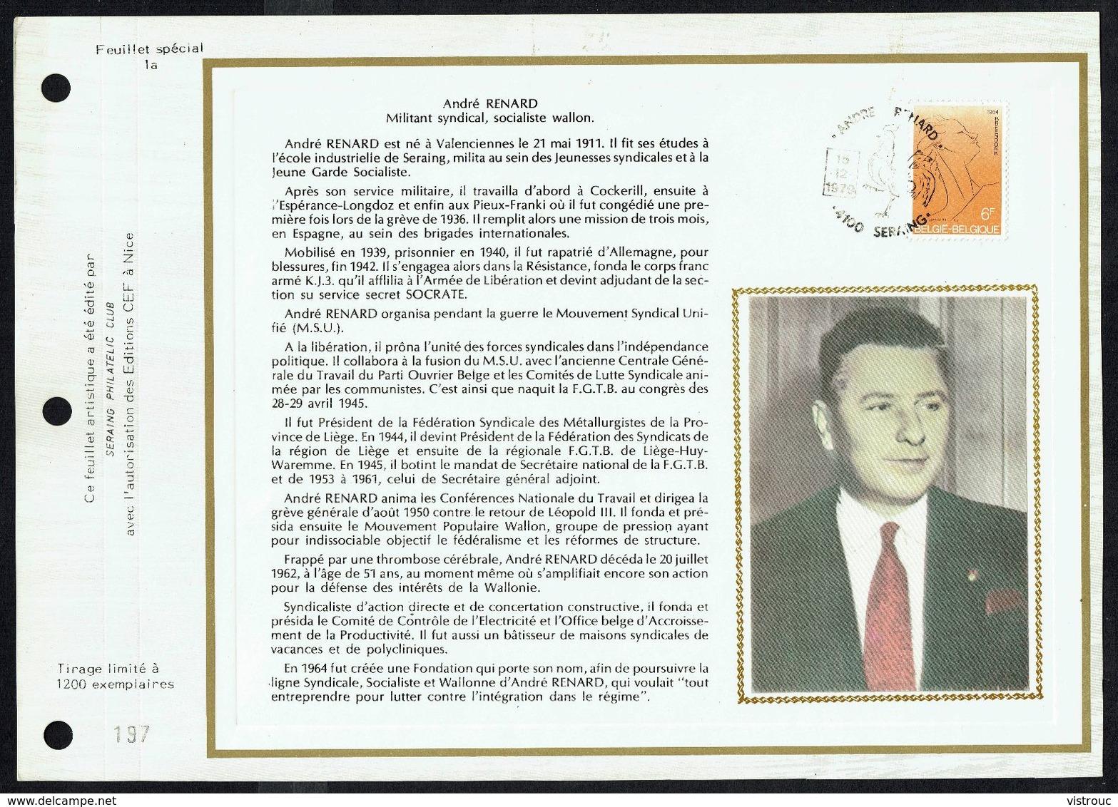 """COB N° 1928 Sur Document Soie Gd Format - Hommage à André RENARD - Oblit. : """" SERAING 15-12-1979 """". - Oblitérations De Complaisance"""
