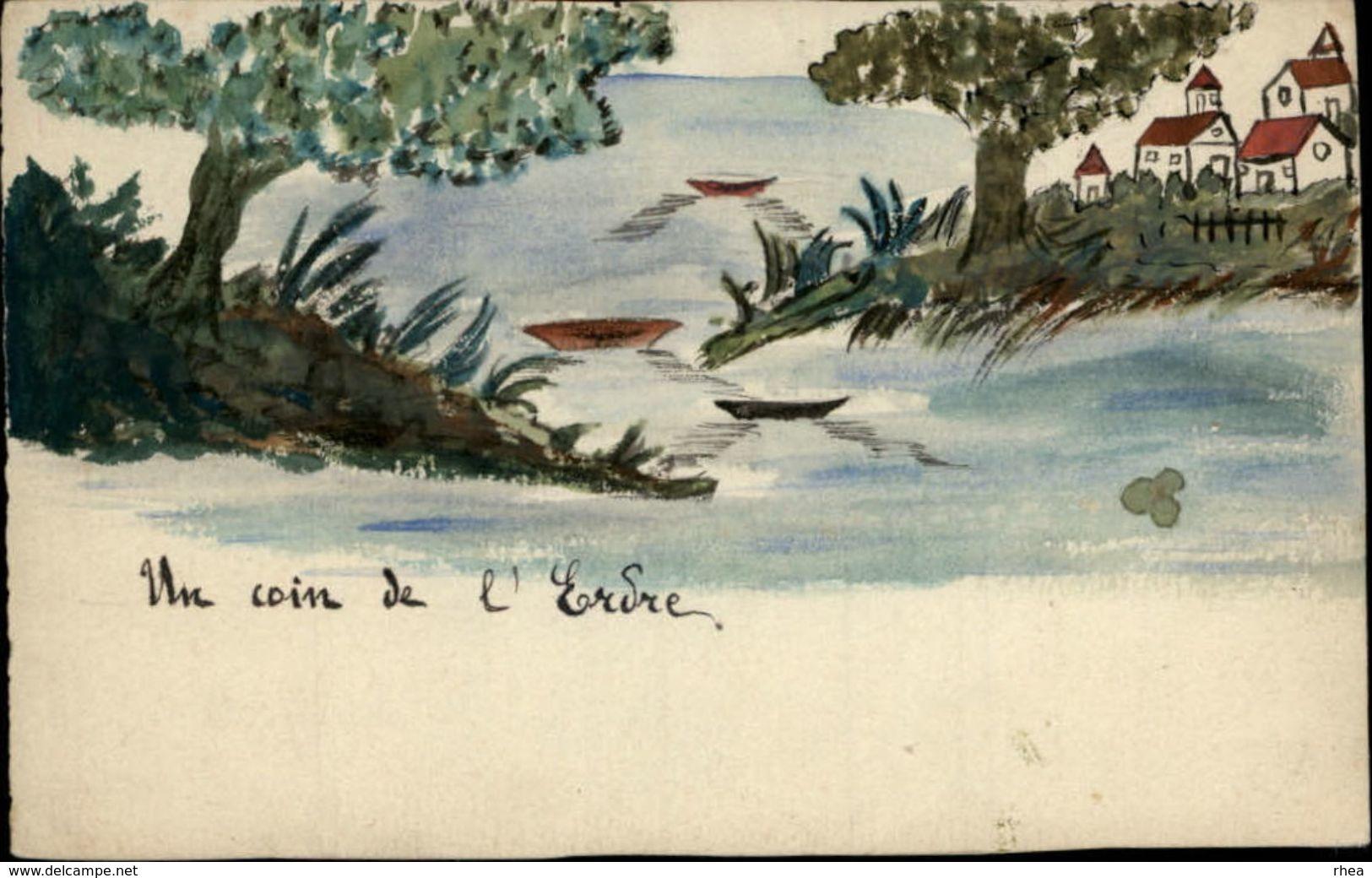 44 - NANTES - Un Coin De L'Erdre - Dessin à La Main - 1921 - Vieux Papiers