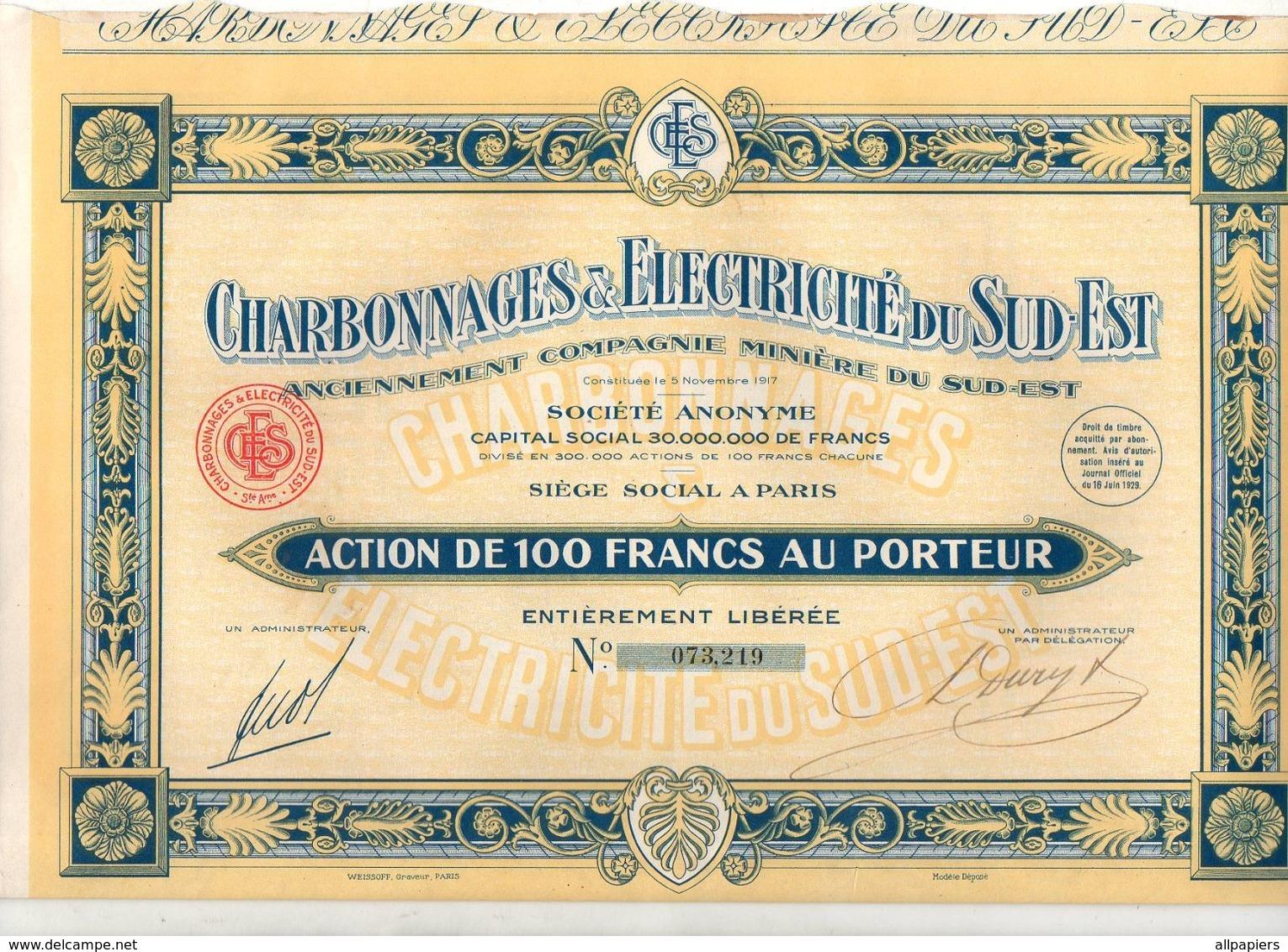 Action De 100 Francs N°073219 Au Porteur Charbonnages & Electricité Du Sud-Est De 1929 - Acciones & Títulos
