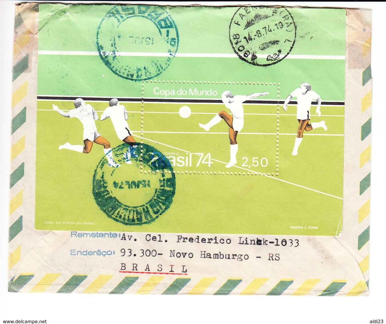 Cover Of World Cup Germany 1974. Football/soccer Item Brazil Stamps. - Coppa Del Mondo