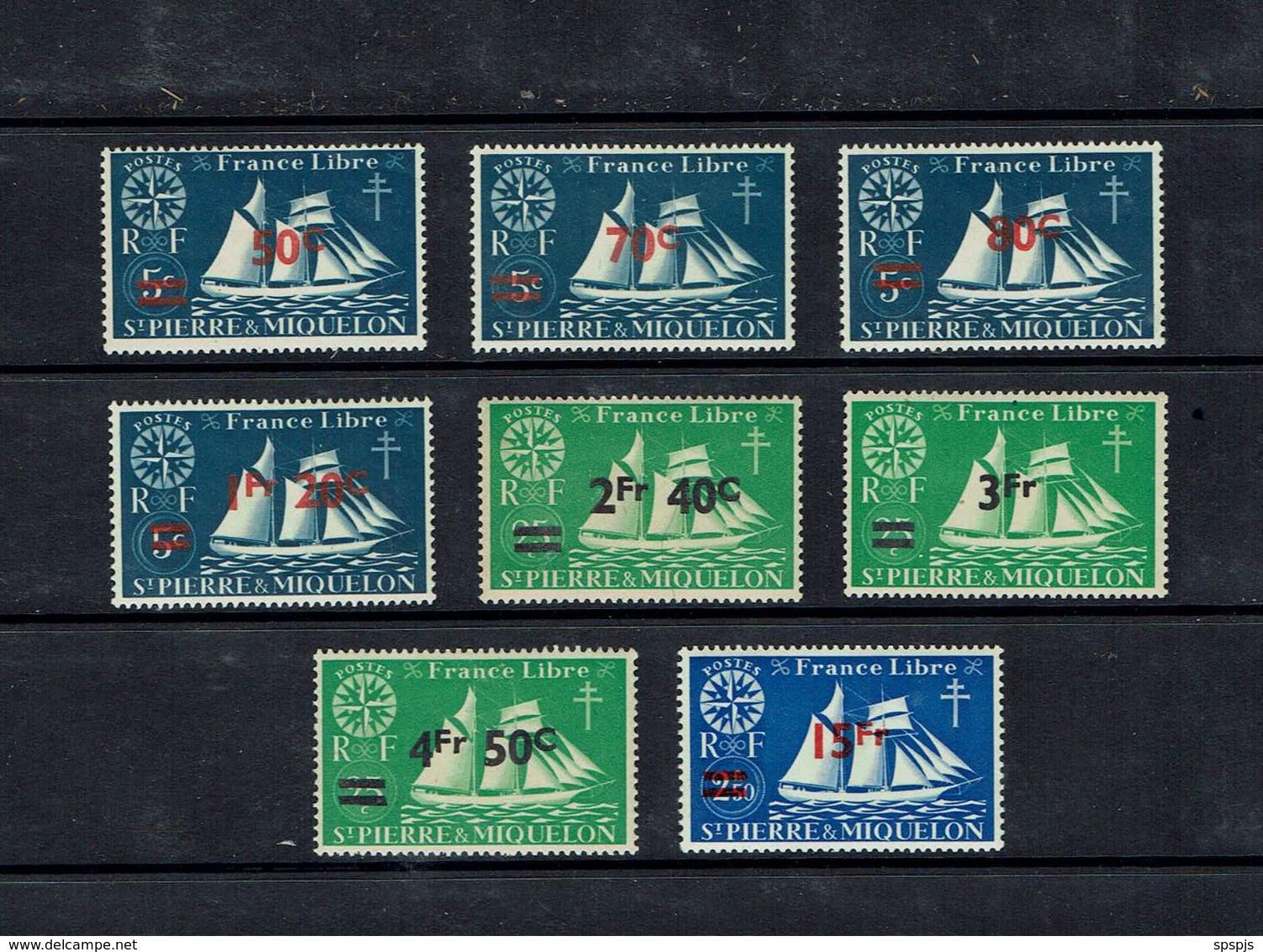 ST PIERRE & MIQUELON...1945...Scott #314-21 - Used Stamps