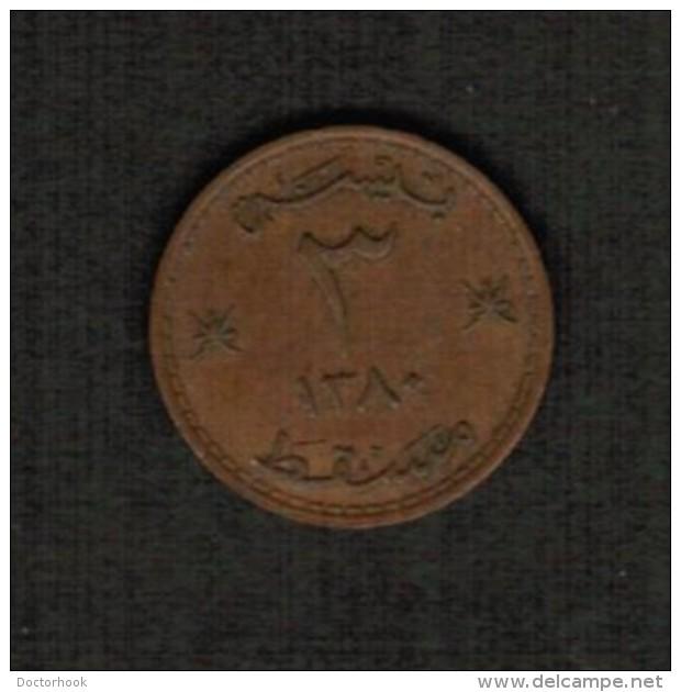 MUSCAT & OMAN   3 BAISA 1960 (AH 1380)  (KM # 32) #5082 - Oman