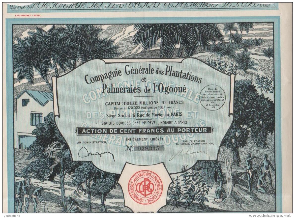 GABON-PLANTATIONS & PALMERAIES DE L'OGOOUE. SUPER DECO. - Shareholdings