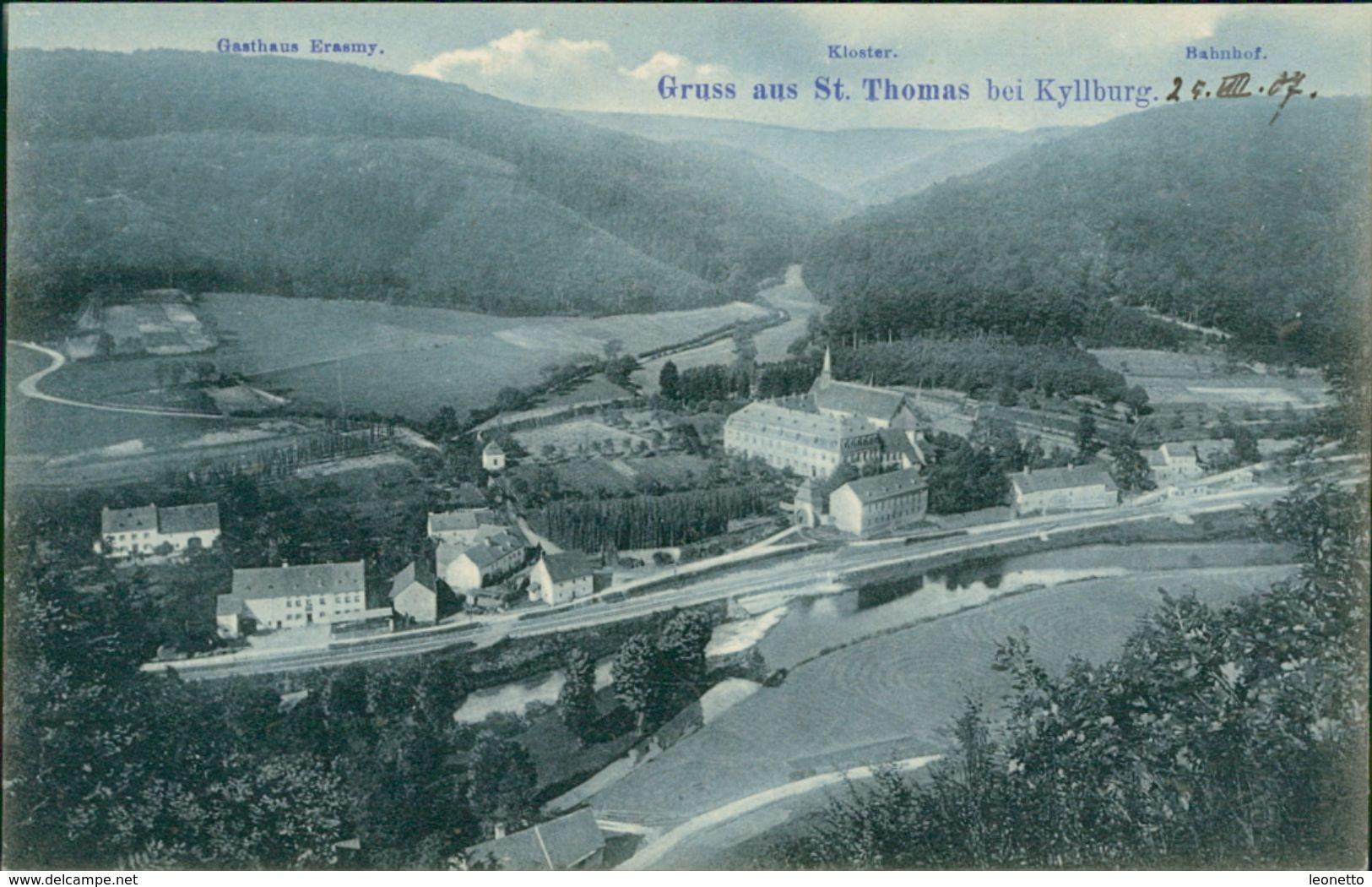 AK St. Thomas Bei Kyllburg Eifel, Gasthaus Erasmy, Kloster, Bahnhof, Um 1907 (29461) - Germany
