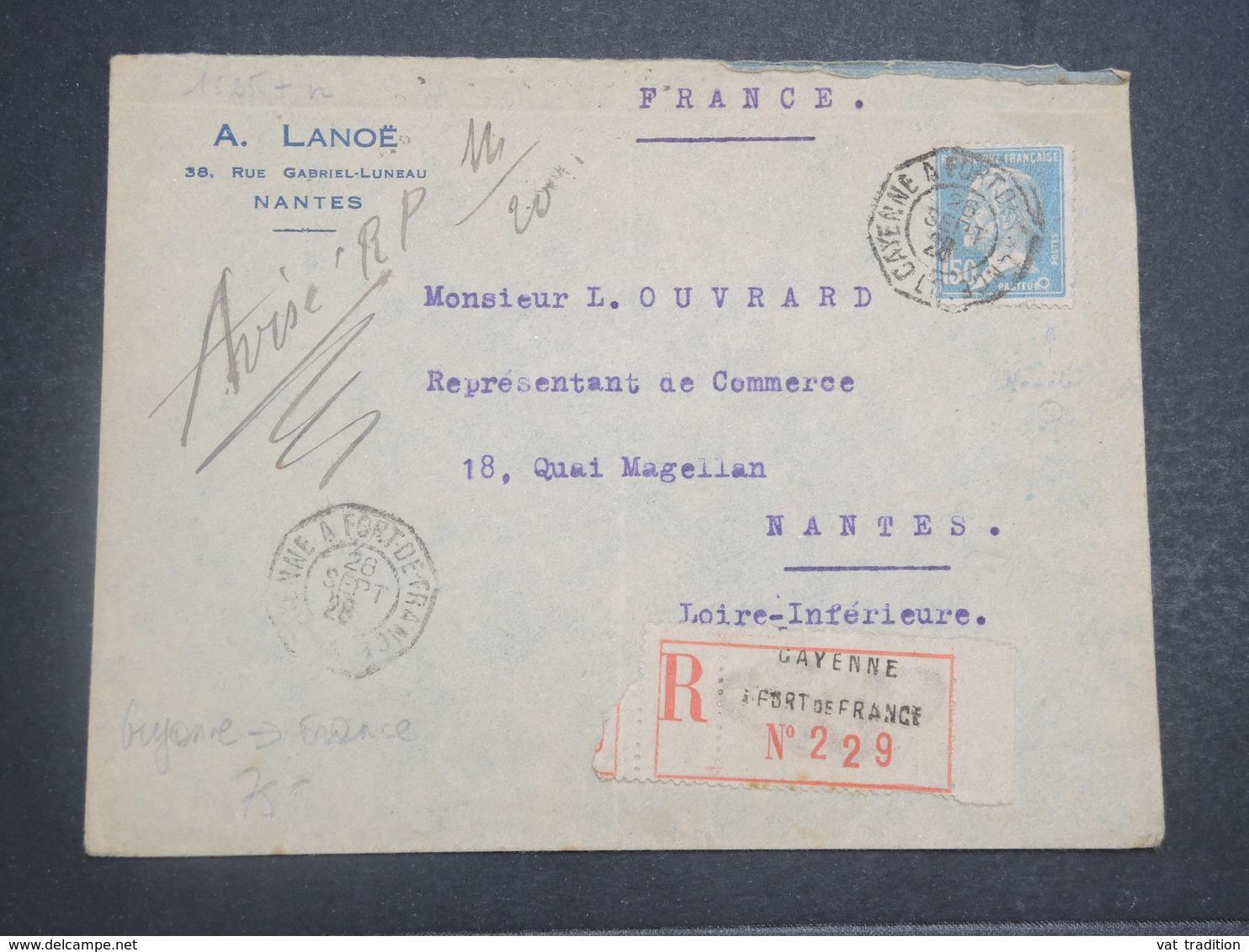 GUYANE - Enveloppe En Recommandé De Cayenne Pour La France En 1928 , Affr. Pasteur , Oblitération Maritime - L 14827 - Guyane Française (1886-1949)