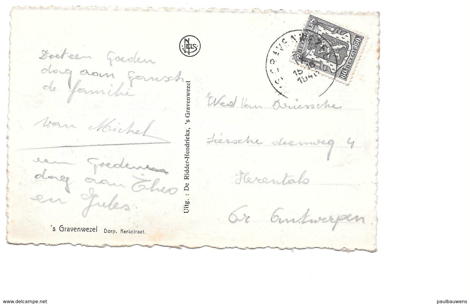 's Gravenwezel,Dorp,  Kerkstraat Met Kerk, Leurder, Café En Postzegel 1946. - Schilde