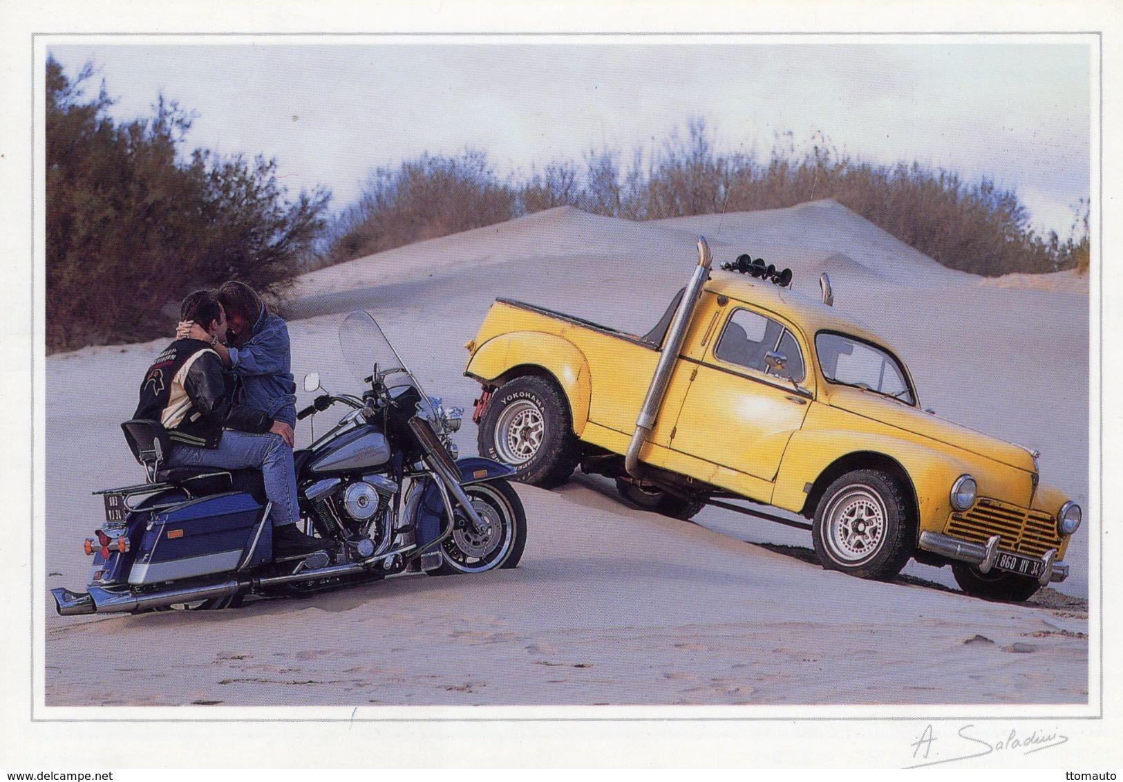 Harley Davidson  -  Peugeot 203 Pickup Camionette   -  Saladini Photocarte  -  CPM - Turismo