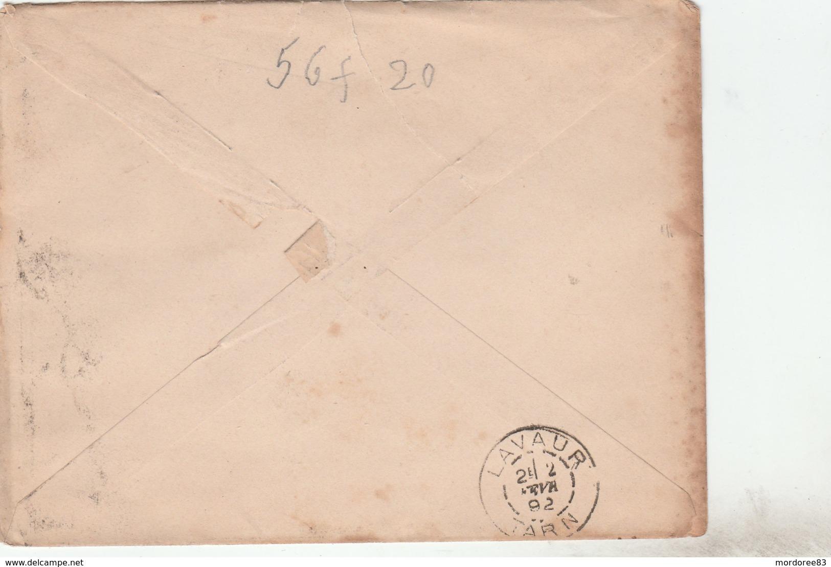 SAGE 5C SUR ENVELOPPE ILLUSTREE A.PEIGNE TOULOUSE 1/2/92 POUR LAVAUR -                            TDA250 - 1877-1920: Semi Modern Period