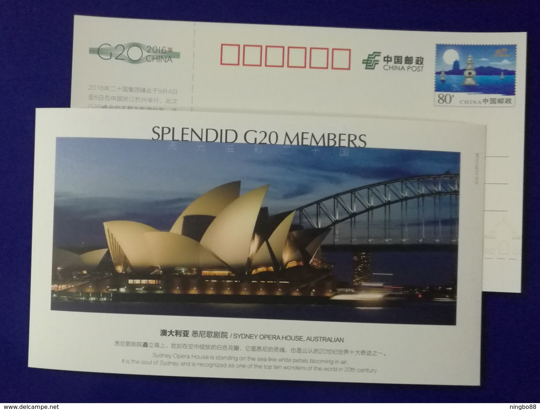Australia Sydney Opera House,Harbour Bridge,Splendid G20 Members,CN 06 G20 Hangzhou Summit Advert Pre-stamped Card - Bruggen