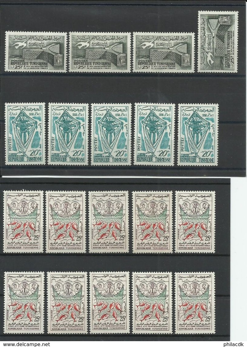 TUNISIE - BELLE COLLECTION DE 275 TIMBRES NEUFS**/* SANS ET AVEC CHARNIERE OU GOMME ALTEREE - VOIR SCANNS RECTO VERSO - Tunisie (1956-...)