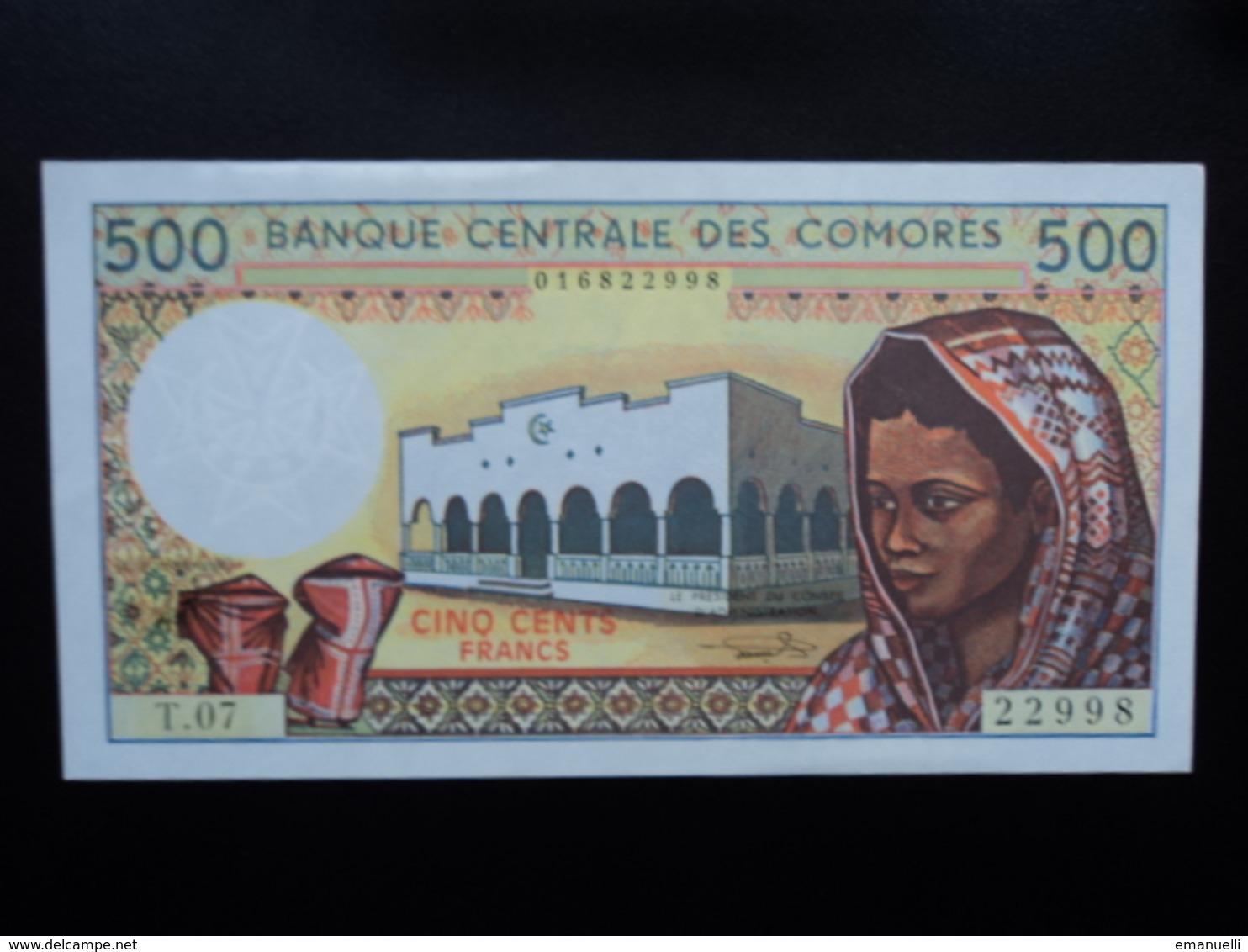 COMORES : 500 FRANCS  ND 1986   P 10b   SPL+ - Comores