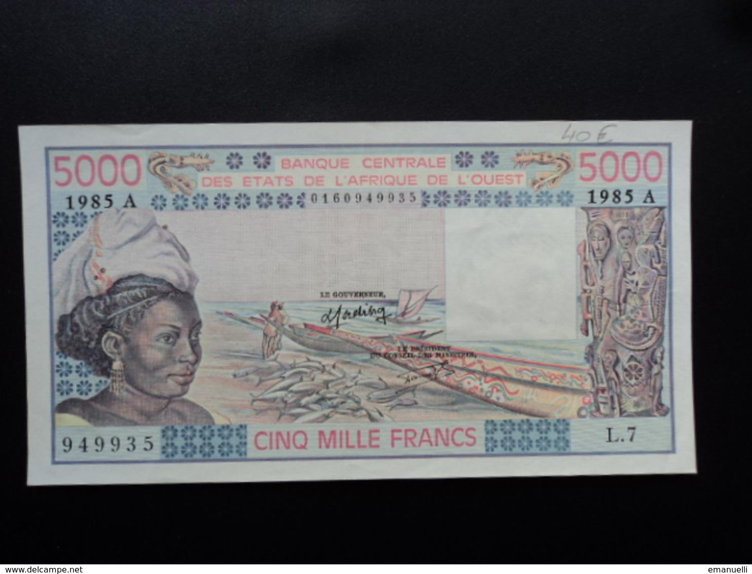 COTE D'IVOIRE : 5000 FRANCS  1985  P 108An   SUP+ - Côte D'Ivoire