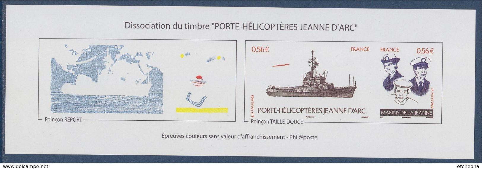 Navire Porte Hélicoptères Jeanne D'Arc Epreuves Couleurs, Poinçon Report & Poinçon Taille Douce, 4423 4424 Neuf Gommé - Blocs & Feuillets