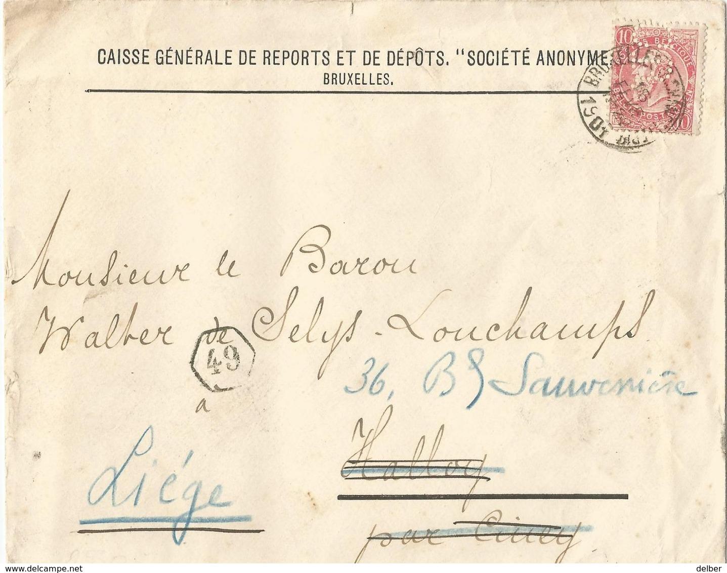 "6Mm-997: N° 58-tab: Met  "" C.B. = CAISSE GENERALE....BRUXELLES(R.CHANCELLERIE)  ...1901  > Hallay (Ciney) >> Liége - Lochung"