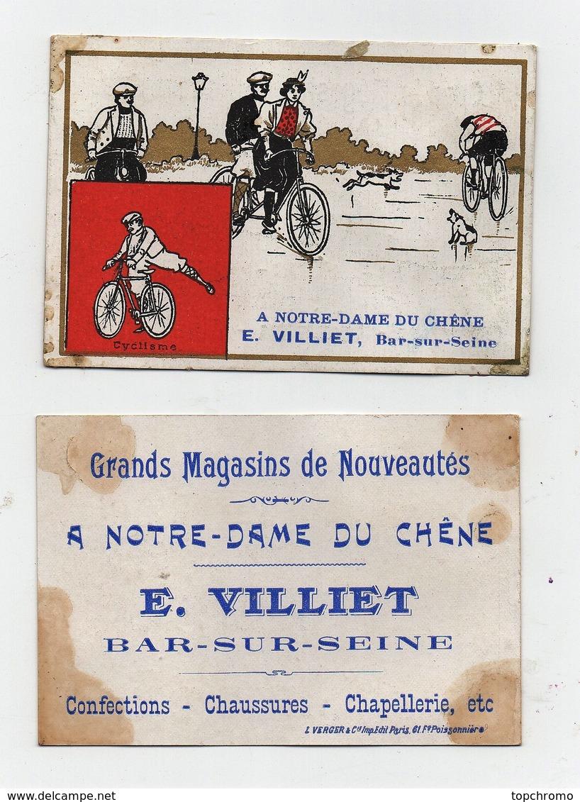 Chromo Magasins E. Villiet Bar Sur Seine Léopold Verger Cyclisme Vélo Bicyclette Tandem Chiens - Autres
