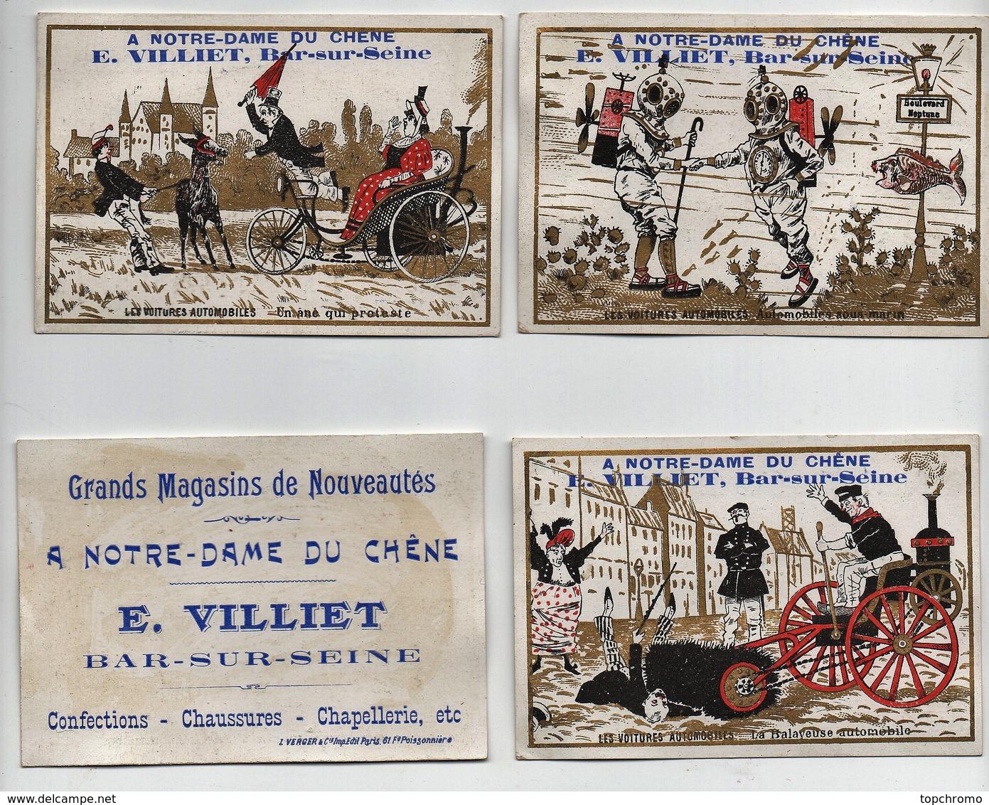 Chromo Magasins E. Villiet Bar Sur Seine Léopold Verger Les Voitures Automobiles Humour Promenade Aérienne (9 Chromos) - Chromos