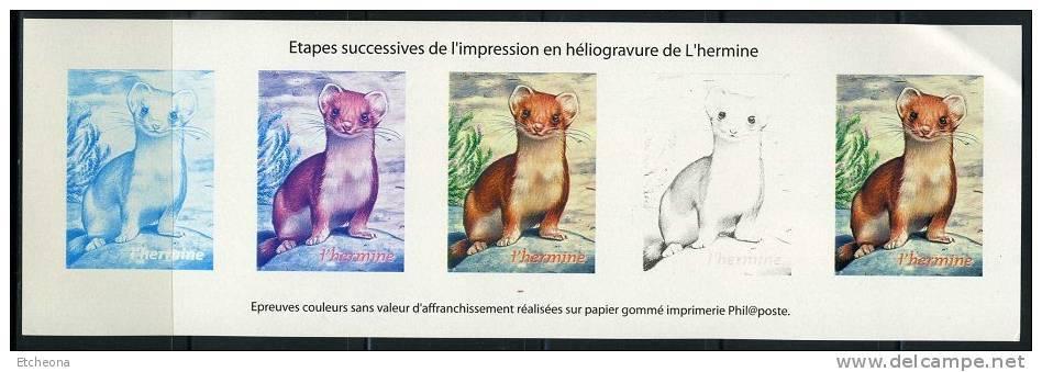 = Bloc Gommé L'Hermine, Etapes De L'impression En Héliogravure Du Timbre Du Bloc Série Nature De France - Sheetlets