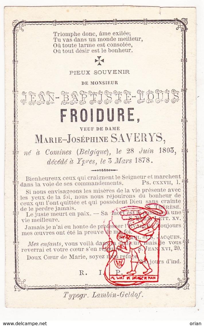 DP Jean Bapt. Froidure ° Komen Comines 1803 † Ieper 1878 X Marie J. Saverys / Frodure Froedure Froeduere - Images Religieuses