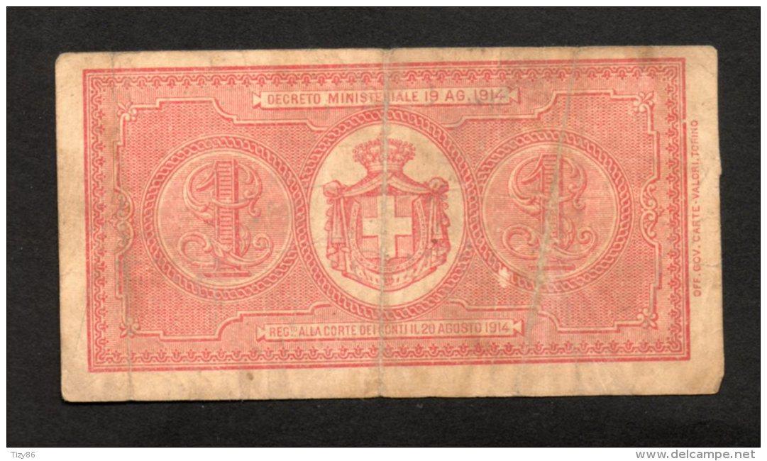 Banconota Buono Di Cassa 1 Lira 1914 (Dell'Ara, Righetti) - [ 1] …-1946 : Royaume