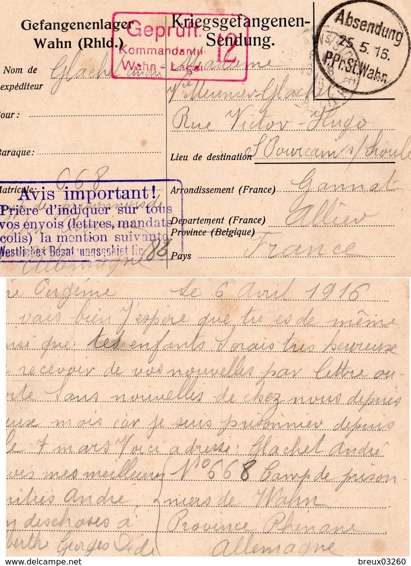 CP- L Camp De Prisonniers -WAHN- - Guerre De 1914-18