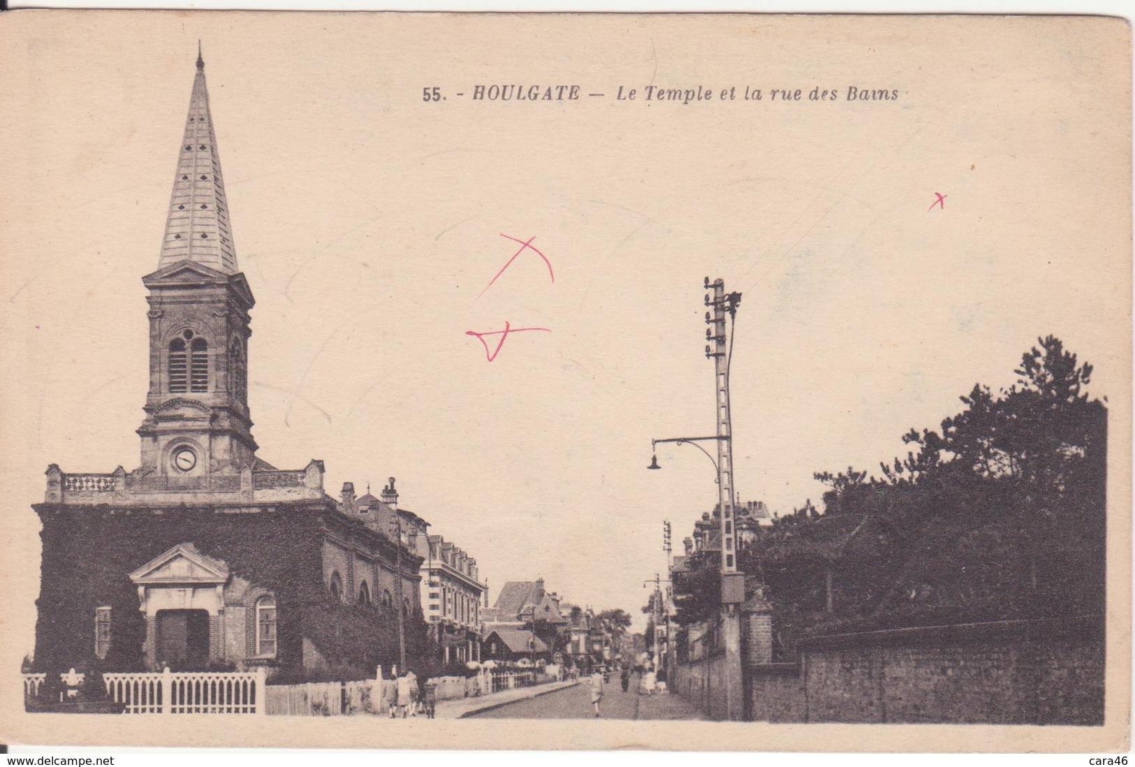 CPA - 55. HOULGATE - Le Temple Et La Rue Des Bains - Houlgate
