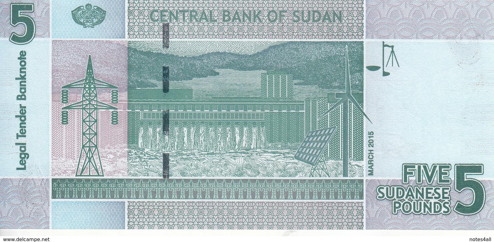 SUDAN 5 POUNDS 2015 P-72 REPLACEMENT UNC */* - Soudan