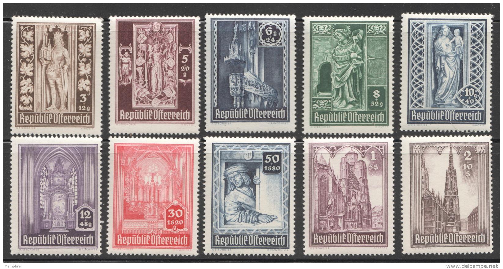 1946  Cathédrale St Etienne  MiNr 791-800  ** MNH - 1945-.... 2. Republik