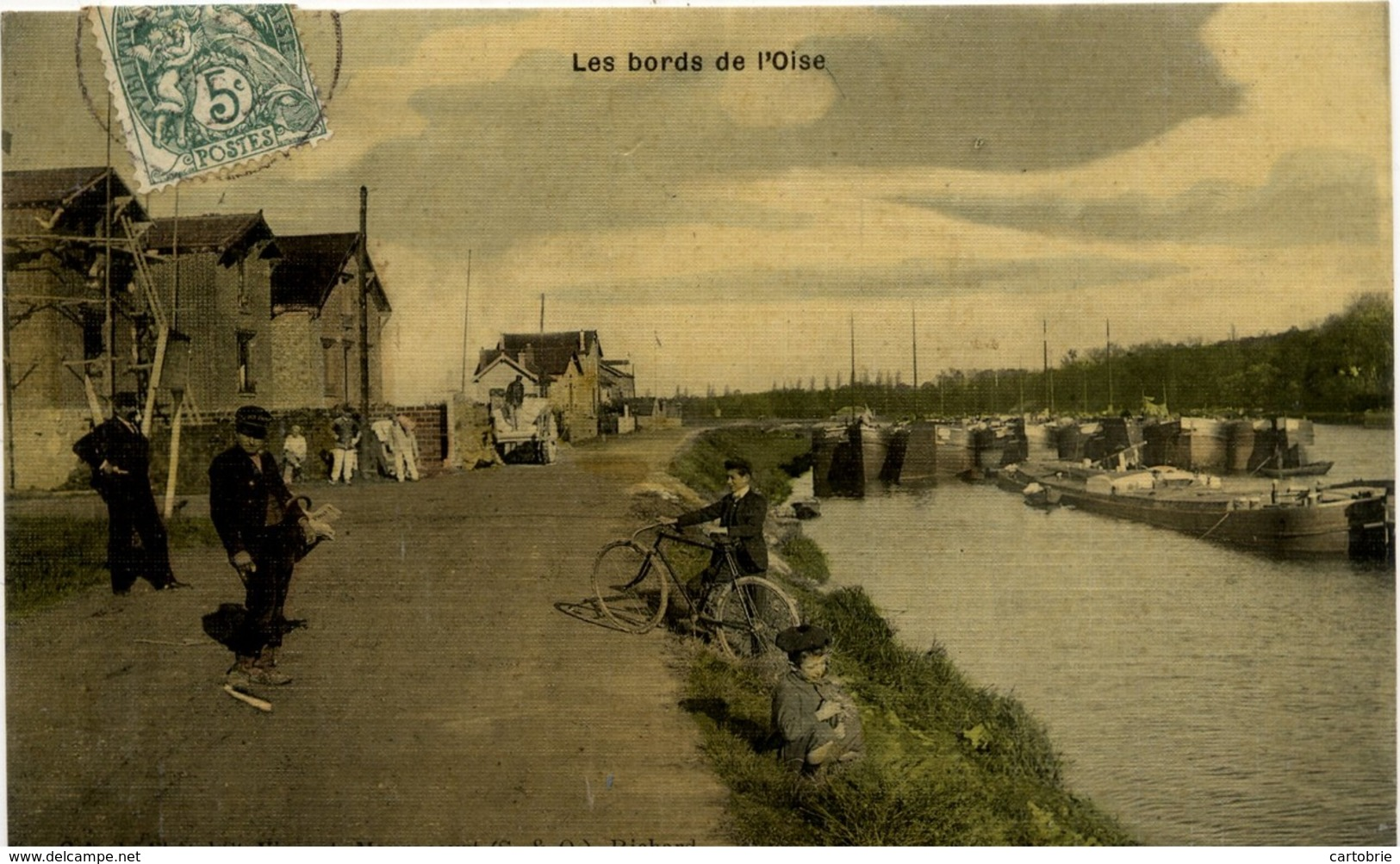 78 Les Bords De L'Oise - MAURECOURT (péniches) - Carte Toilée Couleur - Animée - Maurecourt
