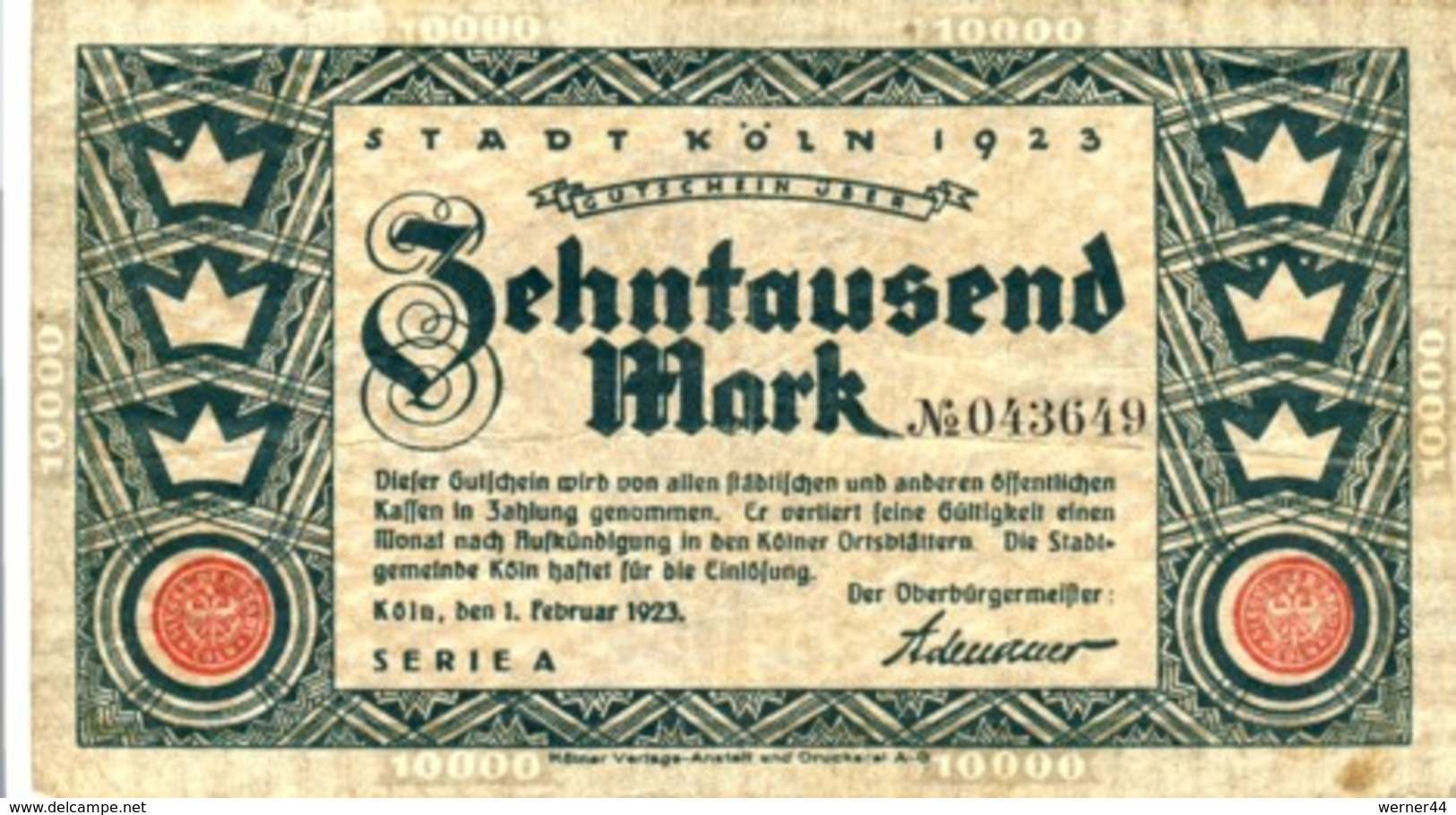 """Städte Großgeldscheine - Banknoten Während Der Inflationszeit V. 1923  Zehntausend Mark - Satz """"GUTSCHEIN"""" (0002) - [ 3] 1918-1933: Weimarrepubliek"""