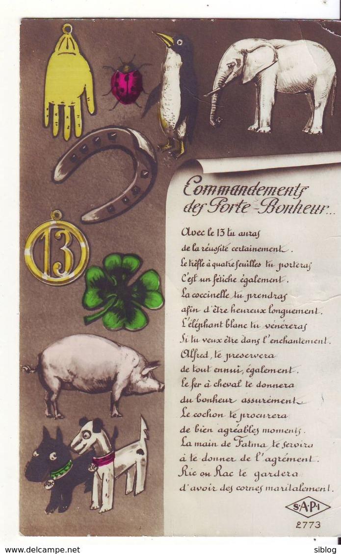 CPA - Commandement Des Portes-bonheurs (Eléphant, Coccinelle, Cochon, Trèfle, Fer à Cheval Etc...) - Otros