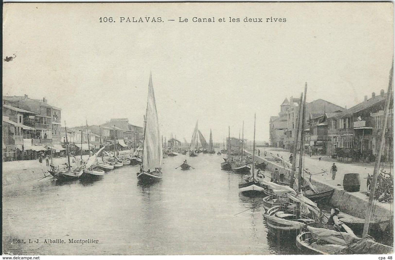 Herault : Palavas, Le Canal Et Les Deux Rives - Palavas Les Flots