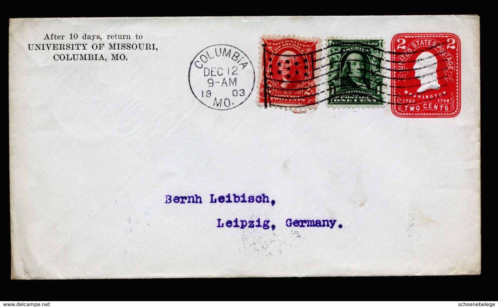 A5248) US Brief Von Columbia 12.12.1903 N. Leipzig Mit Sauberem Flaggenmaschinenstempel - Vereinigte Staaten