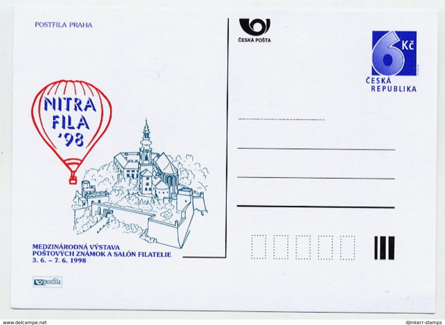 CZECH REPUBLIC 1998 6 Kc Postcard NITRAFILA '98  Unused.  Michel P40-A1 - Postal Stationery