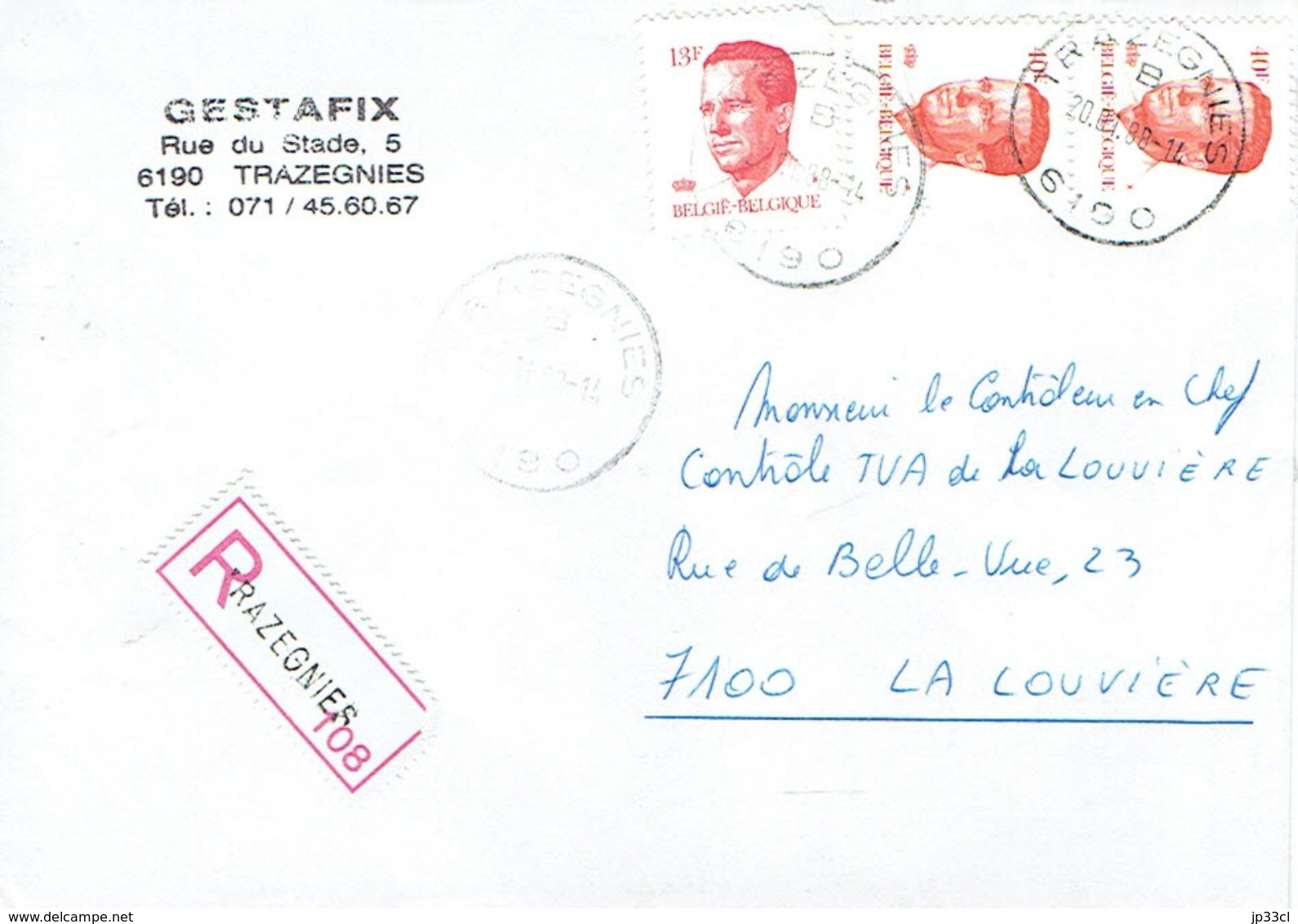 Recommandé De La Société Gestafix, Rue Du Stade, Trazegnies Vers La Louvière Du 20/01/1988 - Belgien