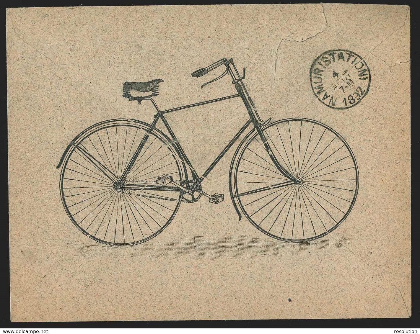 """L. Illustré (dft Au Dos)  """"Vélo"""" (firme C. Lefebvre)  Affr. N°46 Càd CINEY/1892 Pour Namur - 1884-1891 Léopold II"""