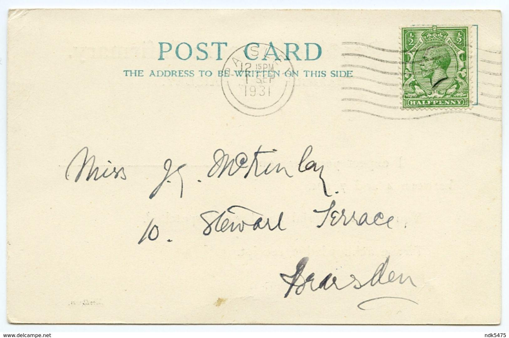 PAISLEY : THE ROYAL ALEXANDRA INFIRMARY, BARBOUR PARK - MATRON'S CARD - Renfrewshire