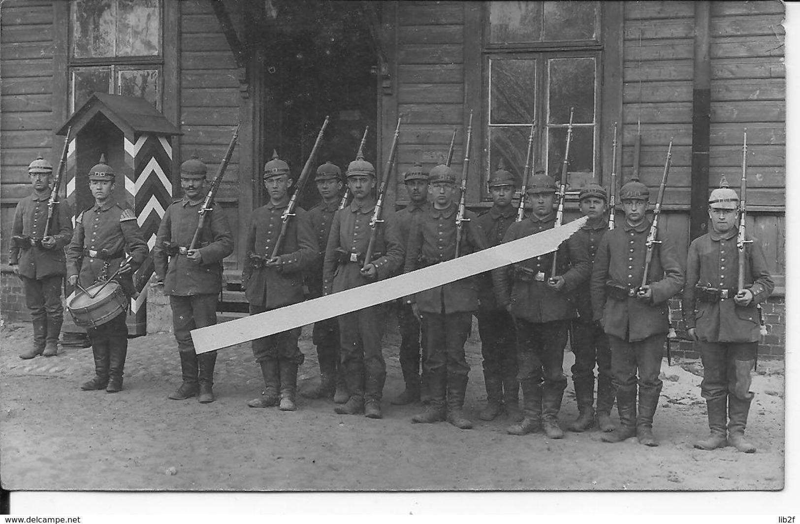1914-1918 Peloton De Garde Allemand Avec Tambour Soldats En Casques à Pointe Poste De Garde 1 Carte Photo 14-18 Ww1 1wk - War, Military