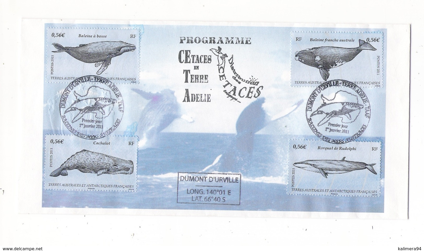 TERRES AUSTRALES ET ANTARCTIQUES FRANCAISES ( TAAF ) / Programme Cétacés ( 4 Timbres : Baleines, Cachalot, Rorqual ) - TAAF : Terres Australes Antarctiques Françaises